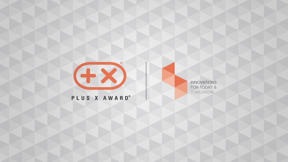 """Logo des Plus X Award und Markenclaim """"Innovations for today and tomorrow"""